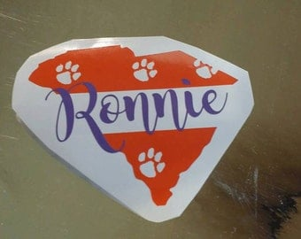 South carolina clemson paw surname last name decal orange and purple