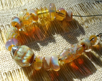 Lampwork Glass Beads by Catalinaglass SRA Opals and Gold-- 16 Bead Set