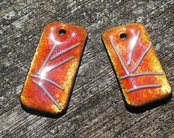 Handmade Enameled Copper earring Pair by Catalinaglass SRA Silk Kimono