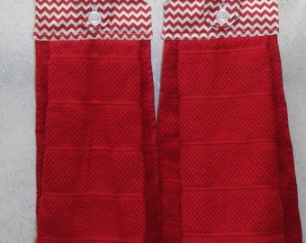 SET of 2 - Hanging Cloth Top Kitchen Hand Towels - RED Chevron Print - Larger RED Towels
