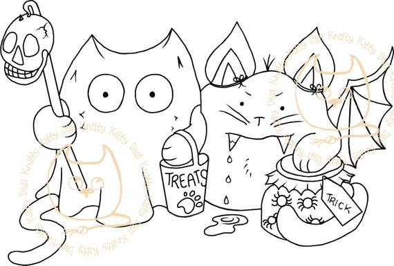 Digi Stamp Instant Download. Kit Or Treat - Knitty Kitty Digis No. 36