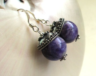 Natural Charoite Earrings, Rich Purple Earrings, Purple Gemstone Earrings, Beaded Gemstone Dangles, Russian Charoite Earrings, Elena