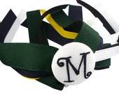 Hunter Green, Yellow Navy Monogrammed Personalized Initial Ponytail Holder Streamer Bow - school uniforms, teams, soccer, dance, gymnastics