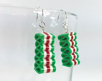 Ribbon Candy Earrings - Christmas Earrings - Red, White & Green Holiday Earrings - Handmade, Polymer Clay - Ready to Ship - RC146