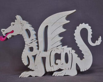 Fantasy Fire Breathing  Dragon Wood Puzzle Hand Cut with Scroll Saw Toy