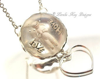 Love & Hope Soldered Resin Dome Necklace Frozen Charlotte Cast Resin Pendant Lorelie Kay Original