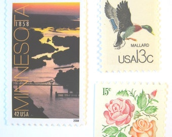Postage Stamps Unused, Minnesota Sunset River, Red Orange Roses, Mallard Duck, Mail 20 Wedding Invites 2 oz, 68 cents postage nature floral