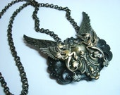 Winged Horse Fantasy Necklace, Hippocampus, Greek Mythology, SeaHorse, One Of A Kind, Metal Bonded, NOT Glued, Quality Jewelry Component