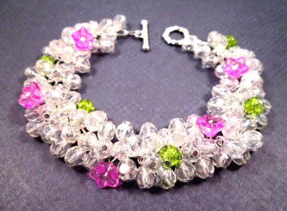 Flower Bracelet, Pink Green and White Luster Glass, Silver Beaded Bracelet, FREE Shipping U.S.