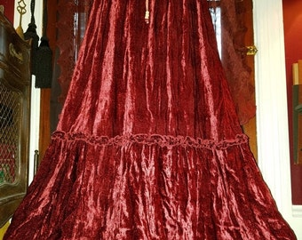 ON SALE Long Deep Red Velvet Broom Skirt Flowy, Small Medium Witchy Gothic