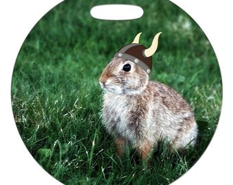 Luggage Tag - Viking Bunny Photo - 2.5 inch or 4 Inch Round Large Plastic Bag Tag
