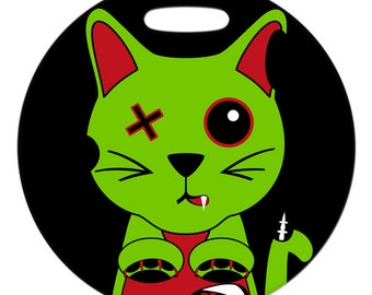 Luggage Tag - Zombie Cat - 2.5 inch or 4 Inch Round Plastic Bag Tag