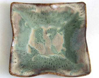 Large Square Decorative Bowl - Choclate Mint Glaze