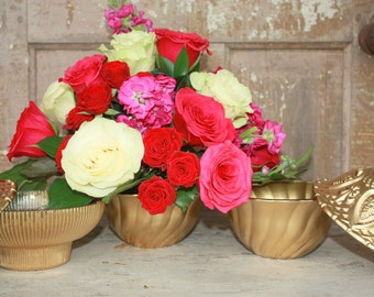 Gold centerpiece vase, gold crystal bowl, Set of 5 gold vintage crystal bowls, gold wedding decor, fall wedding decor, metallic, bar display