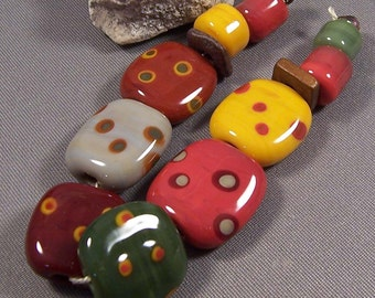 Handmade Lampwork Beads by Monaslampwork - Autumn Dotted Tabs - Lampwork Glass Beads in Autumn Colors with Dots Mona Sullivan Boho Organic