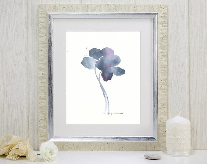 "Indigo watercolor flowers giclee art print: ""Daylight Fading"""