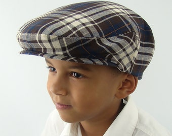 Children's Brown Plaid Linen Flat Jeff Cap for Boys, Baby, and Toddler Newsboy Ivy Sixpence