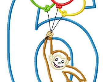 Monkey Balloons 6 Birthday Machine Embroidery Applique Pattern 5x7 6x10 7x11 INSTANT DOWNLOAD