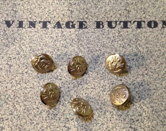 Six Shiny Silver Eagle Buttons