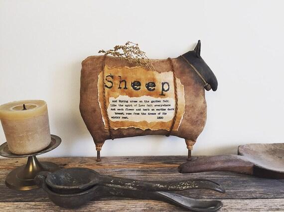 Primitive Folk Art Sheep Doll