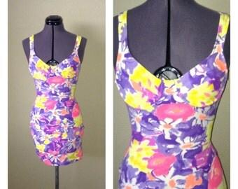 Vintage 80s neon flower print dress ~ bodycon ~ mini dress ~ clubkid ~ rave ~ street fashion
