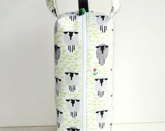 Boxy Bag Knitting Project Bag - Sheep on organic cotton