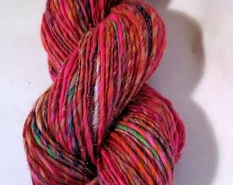 SALE Bubblegum, handspun wool, bamboo and nylon glitter yarn, 76 g/200 yds