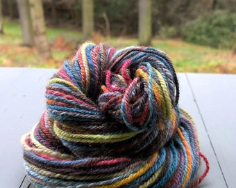 Astral Midnight, handspun washable superwash worsted wool yarn. 104 yds/95 m, 1.5 oz/40 g