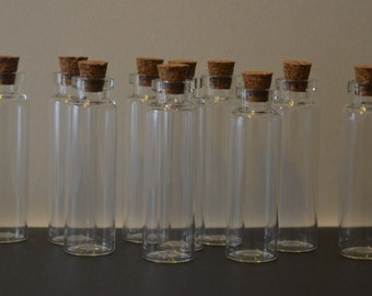 10 small 4ml glass vial bottles cork topped 55mm x 16mm