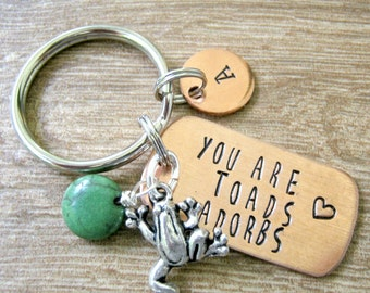 Personalized Frog keychain, You Are Toads Adorbs, optional initial gift, sister gift, bff gift, friend gift, frog lovers gift, friend gift