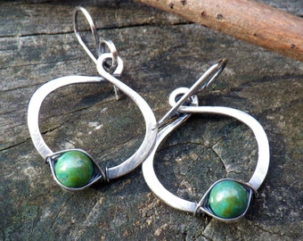 Green Turquoise Hoops oxidized sterling silver hoop green turquoise earrings