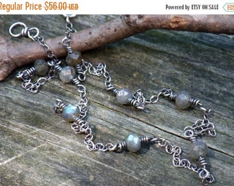 20% OFF TODAY - Labradorite Layering Necklace ....blue flash faceted labradorite necklace sterling silver chain oxidized necklace
