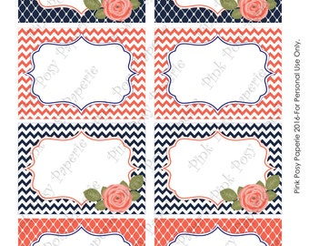 Printable Navy and Coral Bridal Shower Food Labels - Instant Download