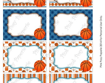 Printable Basketball Birthday Party Food Labels - Instant Download