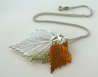 Mother and Child - Real Birch Leaf Necklace