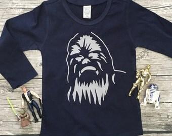Boys Navy Blue Long Sleeve Chewbacca Star Wars T Shirt modern graphic trendy