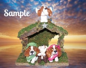 ORDER EARLY!  Basset Hound dog Christmas Creche Nativity Manger Scene Hand Sculpted by Sally's Bits of Clay