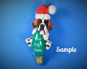 Saint Bernard Santa Dog Christmas Light Bulb Ornament Sally's Bits of Clay PERSONALIZED FREE with dog's name