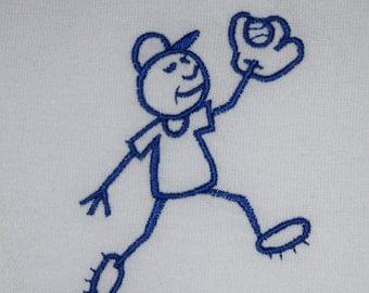 SALE 70% off Child Size Large (14-16) T-shirt Baseball Stick Figure White T