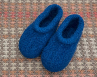 Hand Knit Felted Wool Slippers for Women  Eco Friendly  Toasty Warm in Navy Blue