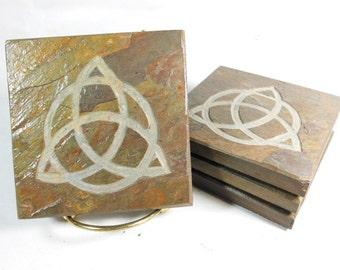 Etched Slate Coasters: TRIQUETRA Coasters Set, 4 Handmade Coasters, Carved Slate Coasters for Drinks Coasters Irish Trinity Celtic Decor