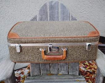 Vintage Tweed Carpet Leather Ventura Suitcase Luggage