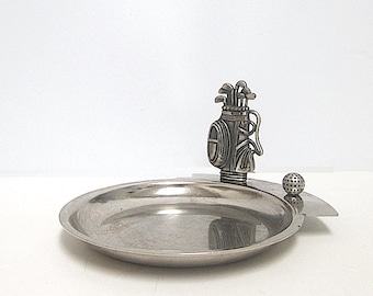 Pewter Change Tray, Key Tray, Small Trinket or Spare Change Tray, Golf Decoration