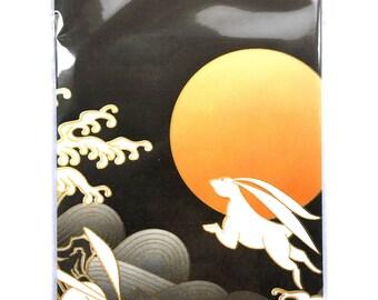 Japanese Envelopes - Traditional Japanese - Full Moon Rabbits Waves -  Set of 5