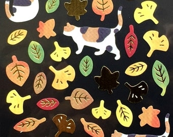 Cat  Stickers - Japanese Washi Paper Stickers - Chiyogami Leaf Stickers - Momiji stickers - Fall Leaves  (S189)