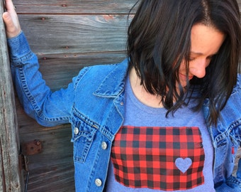 North Dakota T-shirt - North Dakota Women's T-shirt -  Women's Flannel Buffalo Plaid Tee - Women's North Dakota Screen-printed Midwest Tee