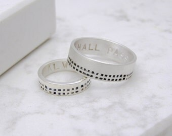Silver Personalised Minimalist His And Hers Rings| Matching Rings| Alternative Wedding Rings | Contemporary Ring
