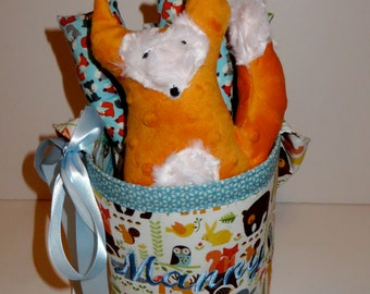 Personalized Stuffed Name Bucket Set in Forest Friends with Stuffed Brown Bear, Orange Fox or Blue Owl