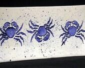 Platter. Crab. Maryland Crab. Blue Crab Rectangular Platter. Sea. Handmade by Sara Hunter Designs.