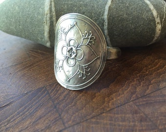 Quatrefoil Mehndi ring, recyled sterling silver, handmade in your size!